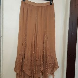 Free People tan skated with sequins skirt